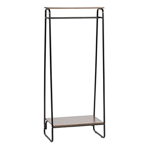 IRIS Metal Garment Rack with 2 Wood Shelves, Black and Dark Brown