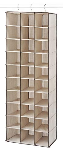 Whitmor Hanging Shoe Shelves - 30 Section - Closet Organizer - Canvas