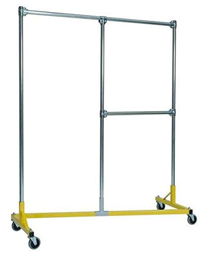 Heavy Duty Split Rail Garment Rack w Half Middle Rail in Yellow