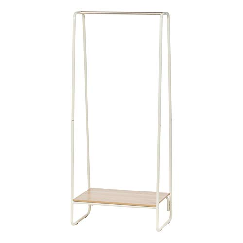 IRIS Metal Garment Rack with Wood Shelf, White and Light Brown