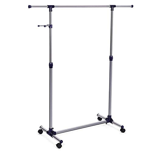 SONGMICS Adjustable Clothes Rack, Rolling Garment Rack, Portable Clothing Rack on Wheels, Blue ULLR01L