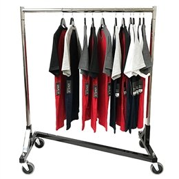 "Z Garment Rack With Black Base and Chrome Uprights and Hangrails. 47"" Long and Adjustable 47"" to 70"" in height Uprights. 2 Locking and 2 Non-Locking 4"" Casters"