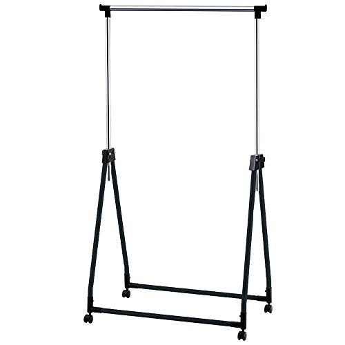 Tatkraft Halland Adjustable Clothes Rack, Hanger on Wheels, Foldable Garment Rack, Chromed Steel, 35 x 19.3 x 39-65.7 in