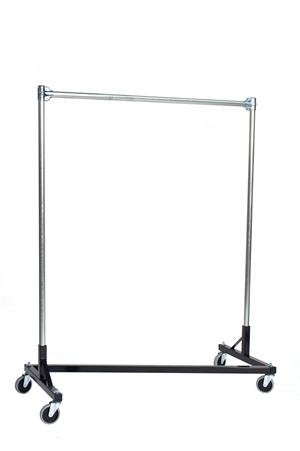 48 in. Single Rail Heavy Duty Z-Rack Garment Rack in Black