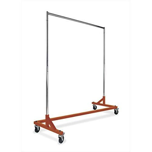 Commercial Garment Rack (Z Rack) - Rolling Clothes Rack, Z Rack With KD Construction With Durable Square Tubing, Commercial Grade Clothing Rack, Heavy Duty Chrome Commercial Garment Rack - Orange