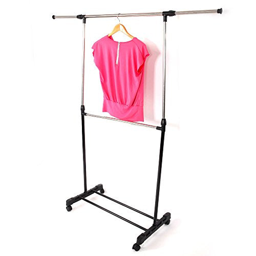 HOBBYN Clothing Rack,Single-bar Horizontal-Stretching Stand Clothes Rack Black