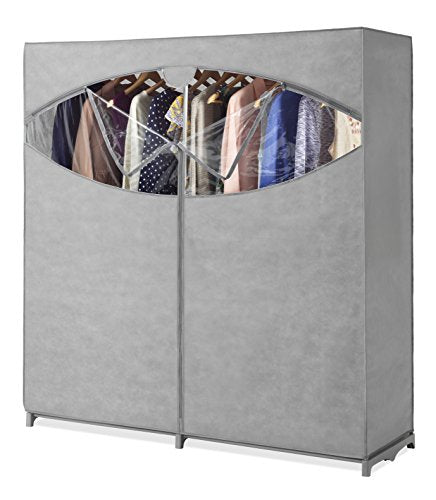 Whitmor Portable Wardrobe Clothes Storage Organizer Closet with Hanging Rack - Extra Wide -Grey Color - No-tool Assembly - Extra Strong & Durable - 60