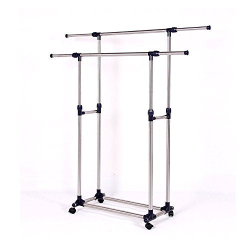 Heavy Duty Double Rail Adjustable Telescopic Clothing Rolling Garment Rack