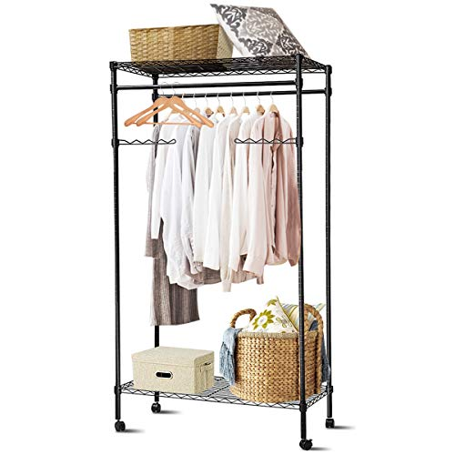 Tangkula Metal Clothing Garment Rack, Mobile Garment Hanging, Rolling Closet Organizer, Rolling Clothes Rack (Rack with Wheel)