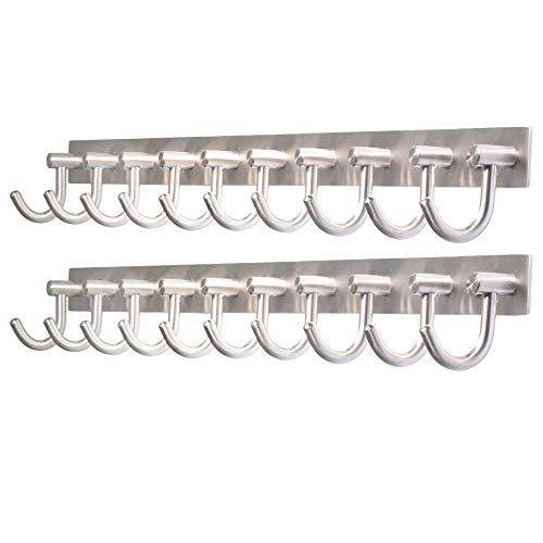 WEBI Wall Mounted Coat Hook Rack - 30 inch 10 Hooks Heavy Duty Stainless Steel 304 Hook Rail for Bedroom, Bathroom, Foyer, Hallway, Entryway, Brushed Finish, 2 Packs