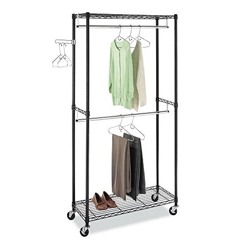 zhihuitong Heavy Duty Garment Rack Rolling Metal Free Standing Clothes Rack Stand Portable Hanging Shelf, 35.4