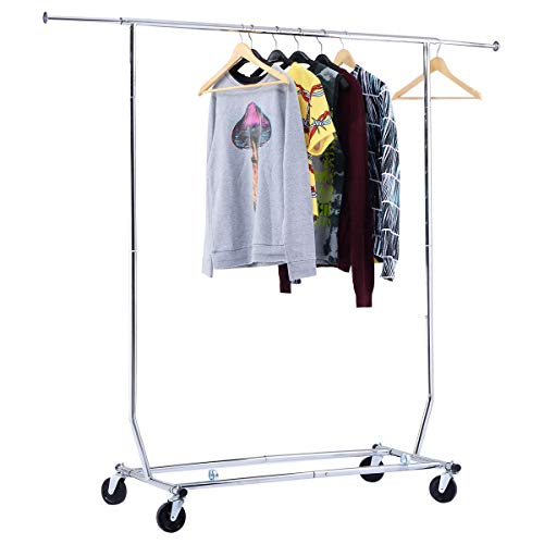 Good concept Heavy Duty Commercial Grade Clothing Garment Rolling Collapsible Rack Chrome