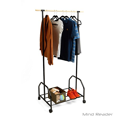 Mind Reader Clothing Garment Rack With One Bottom Shelf For Shoe Organization, Black