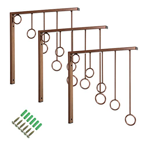 Sumancon Retail Clothing Garment Display Racks, Wall Mounted Closet Hanger Bracket, Metal Design with 5 Level Rings and Space Saving for Boutique, Laundry Room, Bedroom, Hotel, Set of 3 (Brown)