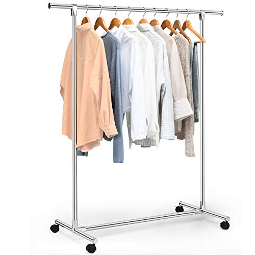 Tangkula Garment Rack, Heavy Duty Stainless Steel Clothing Storage Organizer, Hanging Rack, Commercial Grade Clothes Rack, Silver
