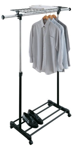 Organize It All Adjustable Mobile Clothing Rack With Top and Bottom Storage Shelf