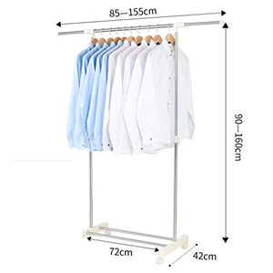 LE Stainless Steel Drying Rack,Floor Drying Rack Single Pole Indoor Telescopic Hanger Balcony Simple Drying Rack B
