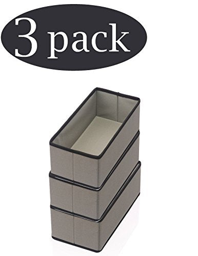 YBM HOME Foldable Cube Storage Bin Basket Container, Great Tote Organizer for Closet, Drawer, Dresser and Home Organization, Gray with Black Trim (3, Medium)