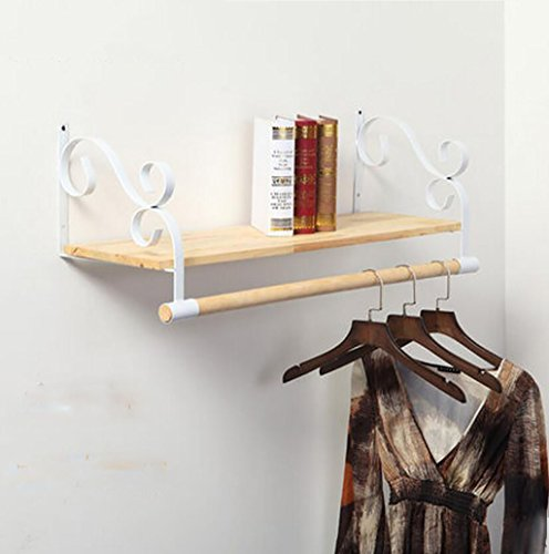 Ymj Iron Wooden Side Hangers, Clothes Shop Wall Clothes Wall Hanging Show Clothing Shelves Solid Wood Retro Racks Shelves (Color : White, Size : 1.2m)