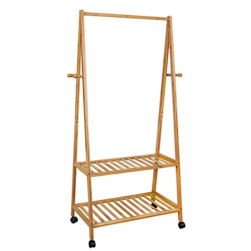 SONGMICS Clothes Rack on Wheels, Rolling Garment Rack with 2-Tier Storage Shelves, Hall Tree with 4 Coat Hooks for Shoes, Clothing, Bamboo URCR52N