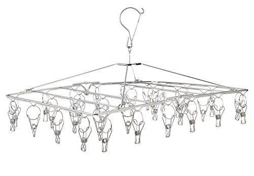 Organize with stainless steel hanging drying rack collapsible portable clip and drip hanger with 32 overstriking wire clothespins for drying clothing towels diapers underwear socks