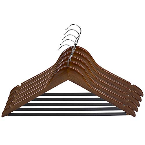 Home Basics 5 Pack Wooden Non-Slip Suit Hangers with Pants Bar – Smooth Finish Solid Wood Coat Hanger 360° Swivel Hook and Cut Notches for Jacket, Pant, Dress Clothes Hangers (Oak)