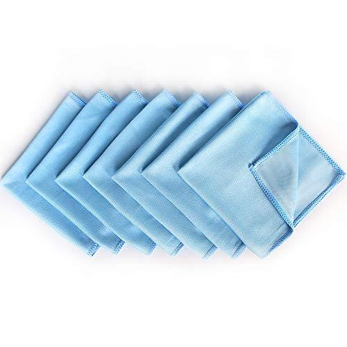 Purchase auto care microfiber glass cleaning cloths towels for windows mirrors windshield computer screen tv tablets dishes camera lenses chemical free lint free scratch free 12x12 blue 8 pack