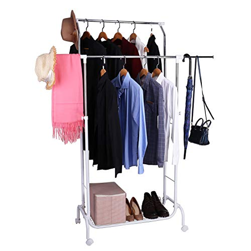 Mythinglogic Double Rail Garment Rack with Wheels, Commercial Rolling Clothes Drying Rack Height Adjustable Clothing Hanging Rack with Lower Storage Shelf for Boxes, Shoes, Boots(White and Chrome)
