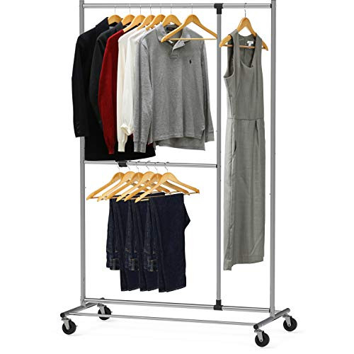Simple Houseware Dual Bar Adjustable Garment Rack, Chrome, 72-inch Height
