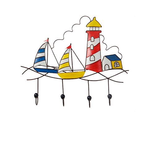 XF Garment Racks Hook-Sailboat Lighthouse Artist's House Link Porch Decoration Home Fashion Creative Bar Hook (53 x 46 cm) Clothing & Closet Storage