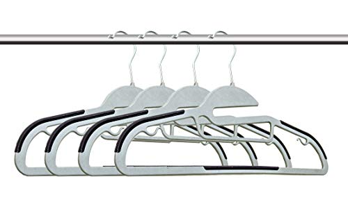 Amiff Clothes Hangers. Dark Purple Plastic Hangers Pack of 10 closet organizers. Non-Slip, U-slide. Rubber Grips. Accessory Slot. Pant Bar. Hooks Camisole Slips. Storage Organization.