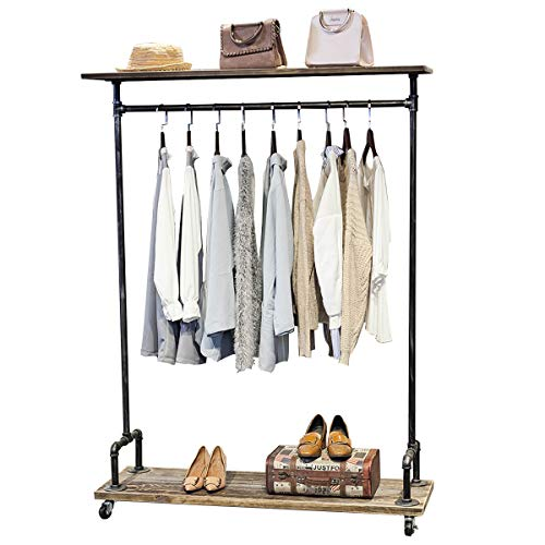 MBQQ Industrial Pipe Clothing Rack on Wheels,Rolling Iron Garment Racks with Shelves, Commercial Grade Clothing Racks Heavy Duty,Vintage Steampunk Clothes Rack Retail Display Wood Shelf