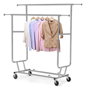 LOVELABEL Double Rail Garment Rack Heavy Duty Commercial Clothing Garment Rolling Collapsible Rack Chrome, Rolling Drying Rack with Wheels.