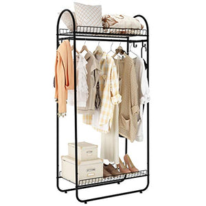 LANGRIA Compact Free-Standing Garment Rack Made of Sturdy Iron with Spacious Storage Space, 2 Shelves, 1 Clothes Hanging Rod, Heavy Duty Clothes Organizer for Bedroom, Entryway (Black)
