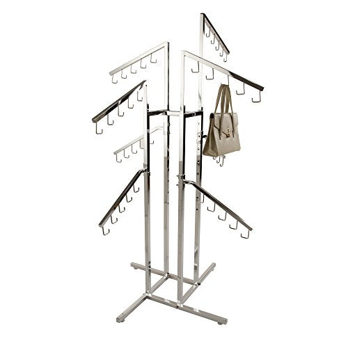 Only Garment Racks #2402 Handbag Rack Handbag Rack - Heavy Duty Chrome 4 Way Rack, 8 Adjustable Height Slant Arms, Square Tubing, Perfect for Handbags or Small Garments Store Display