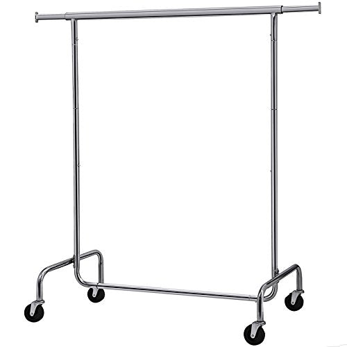 SONGMICS Clothes Garment Rack Heavy Duty Maximum Capacity 300 lb Clothing Rack on Wheels All Metal Chrome Extendable UHSR11S