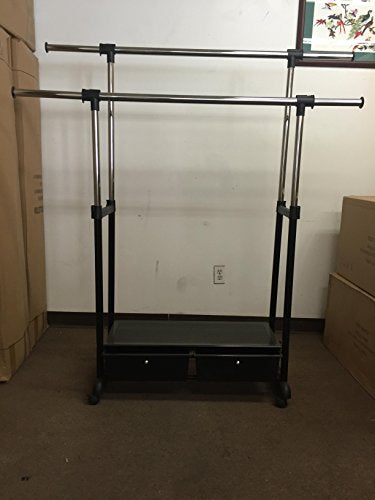 Chrome Deluxe Adjustable Garment Rack With 2 Drawers Bottom