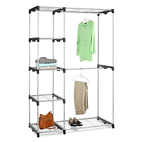 BS Clothing Garment Rack Heavy Duty Organizer Storage Rack Portable Clothes Hanger Double Rob Closet Cover Wardrobe Bedroom Living Room Hanging Rods Support 5 Shelves & eBook by BADA Shop