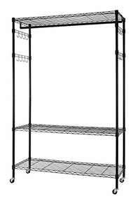 Finnhomy Heavy Duty Wire Shelving Garment Rack with Wheels Rolling Clothes Rack with Shelves and Side Hooks, Black