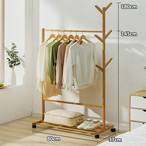 LE Solid Wood Coat Rack,Floor Drying Rack Simple Clothes Pole Indoor Drying Rack Bedroom Hanger Clothes Rack A