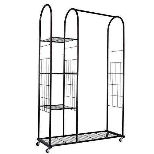 Mythinglogic Heavy Duty Clothing Garment Rack, Commercial Grade Clothes Rack with Wheels, Rolling Closet Organizer with 3 Tier Storage Shelves