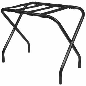 King's Brand Furniture-Black Metal Foldable Luggage Rack Stand with Nylon Belts