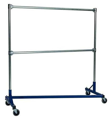 Heavy Duty Z-Rack Double Rail Garment Rack-5 ft. Uprights, Blue