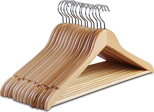 Clothes Hangers, Wooden Hangers Ultra Thin Space Saving Non-Slip Hangers Velvet Hangers Suit Hangers Ideal for Everyday Standard Use, Clothing Hangers 10 Pack