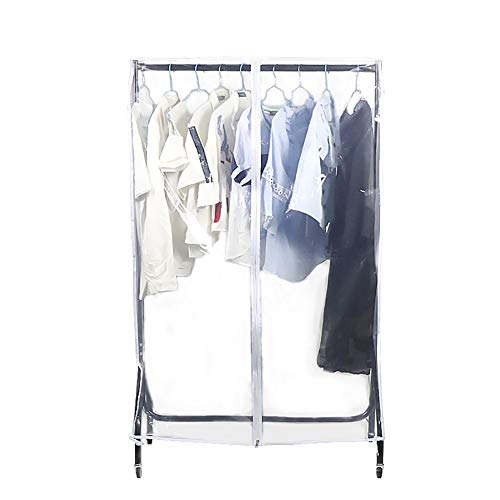 Large Transparent Clothing Rack Covers, Waterproof & Dustproof Z Rack Protectors, Clear Garment Shoulder Rack Covers with Durable Full Zipper and Roomy Pockets for Home Bedroom Dorm