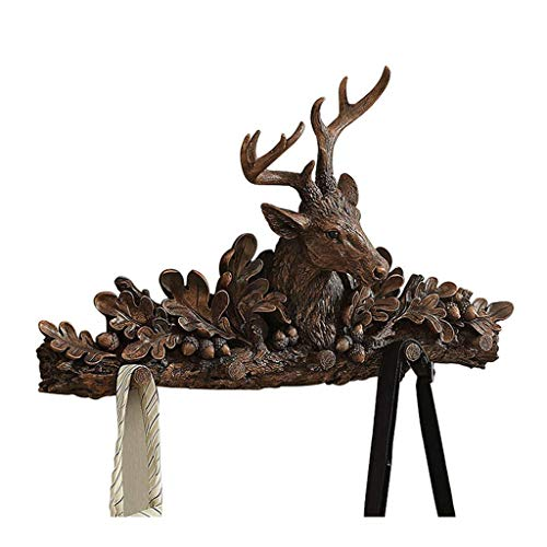 XF Garment Racks Hook-Meo Deer Head Wall Hanging Coat Rack Bedroom Living Room Entrance Hall Wall Hook Storage Clothes Rack (40X66CM) Clothing & Closet Storage