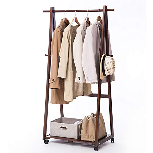 YX Xuan Yuan Wooden Coat Rack,Portable Mobile Solid Wood Coat Rack Clothing Display Stand Living Room Bedroom Hangers Storage Rack 6445156CM Home Storage (Color : Brown)