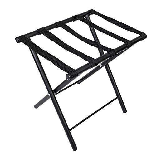 Benlet Portable Iron Stoving Varnish Luggage Rack, 50 x 40 x 50cm Black Metal Foldable Luggage Rack Stand with Belts,US Stock