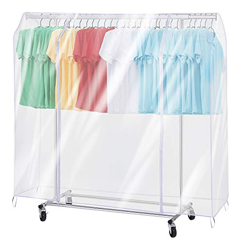 ZZone Garment Rack Cover,Transparent PEVA Clothing Rack Cover, Clear Clothes dustproof Waterproof Cover (70X20X52 inch)