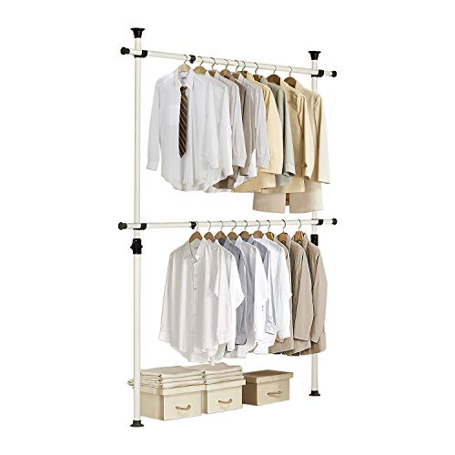 Prince Hanger, 1-Touch Double Adjustable Hanger PHUS-0023, Holds 176lb per Bar, Heavy Duty 38mm Poles, Ivory